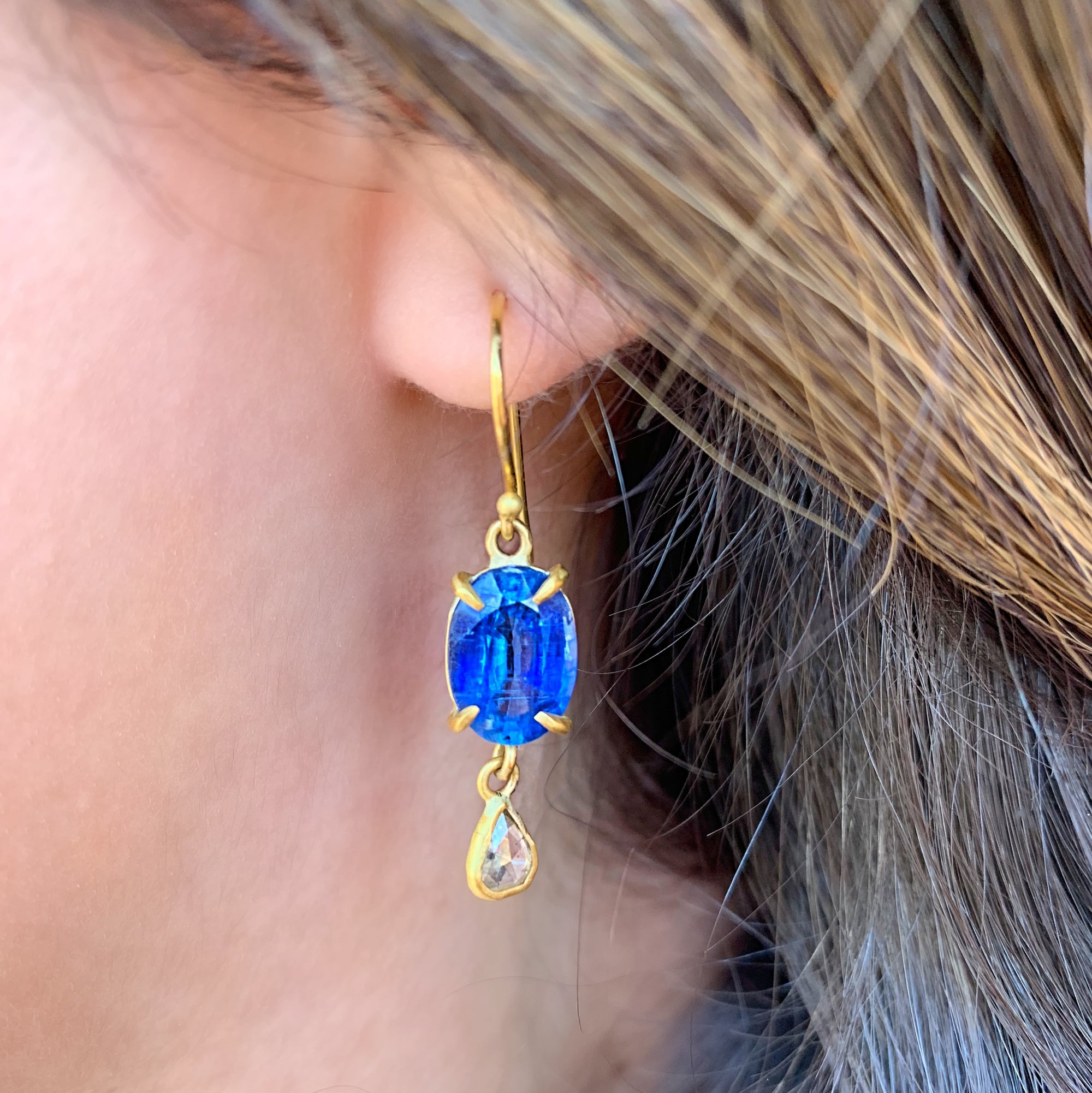 One-Of-A-Kind Kyanite and Diamond Drop Earrings by Margery Hirschey - Talisman Collection Fine Jewelers