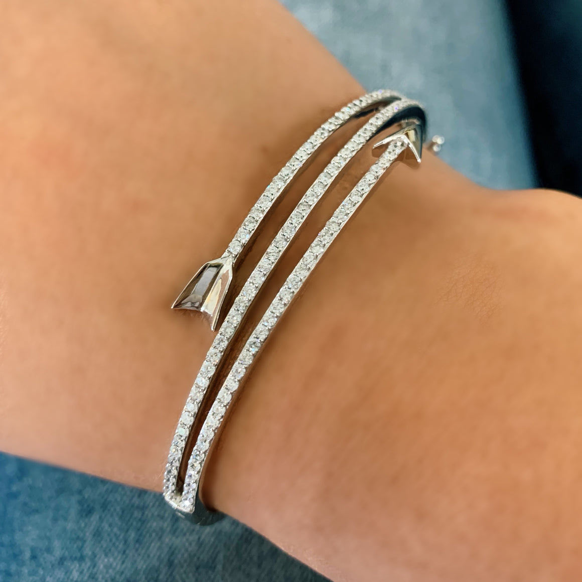 Diamond Arrow Cuff Bracelet - White Gold - Talisman Collection Fine Jewelers