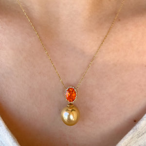 South Sea Pearl and Fire Opal Necklace in Yellow Gold - Talisman Collection Fine Jewelers