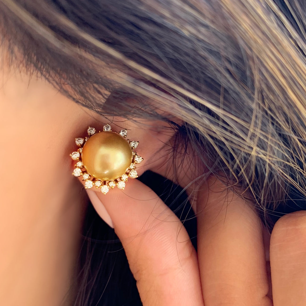 South Sea Pearl and Diamond Stud Earrings in Yellow Gold