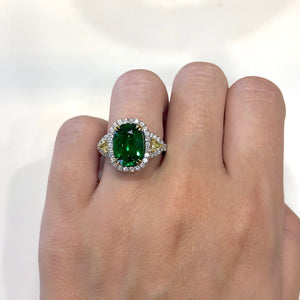 Tsavorite and Yellow Diamond, 18k Yellow and White Gold Ring - Talisman Collection Fine Jewelers