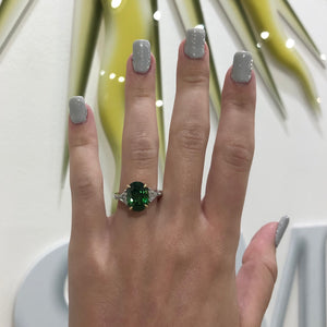 Tsavorite Garnet and Diamond Ring - GIA Certified - Untreated
