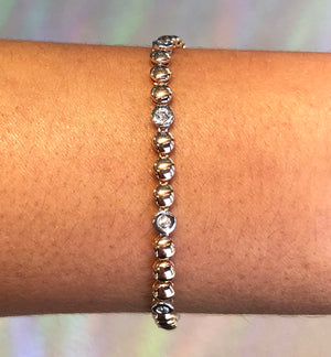 Diamond Bead Line Bracelet in 14k Rose and White Gold - Talisman Collection Fine Jewelers