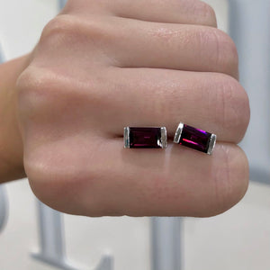 Rhodolite Garnet Bonbon Stud Earrings
