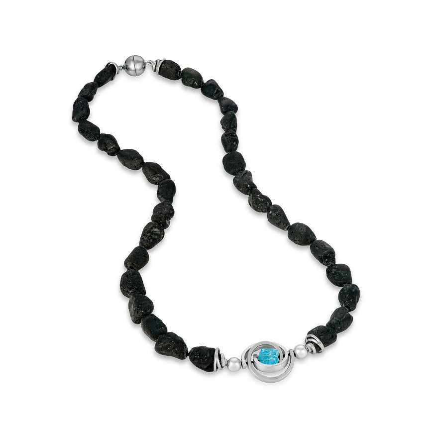 black tourmaline bead sterling silver akoya pearl necklace