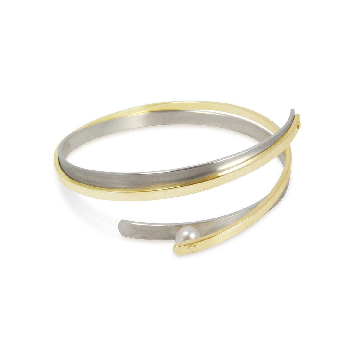 two tone metal akoya pearl cuff bracelet bangle