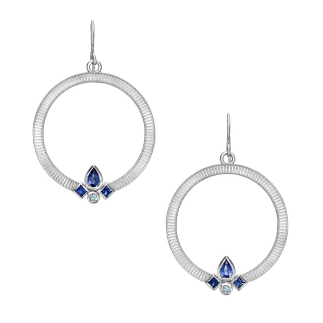 Sapphire Contour Circle Earrings by Meredith Young - Talisman Collection Fine Jewelers