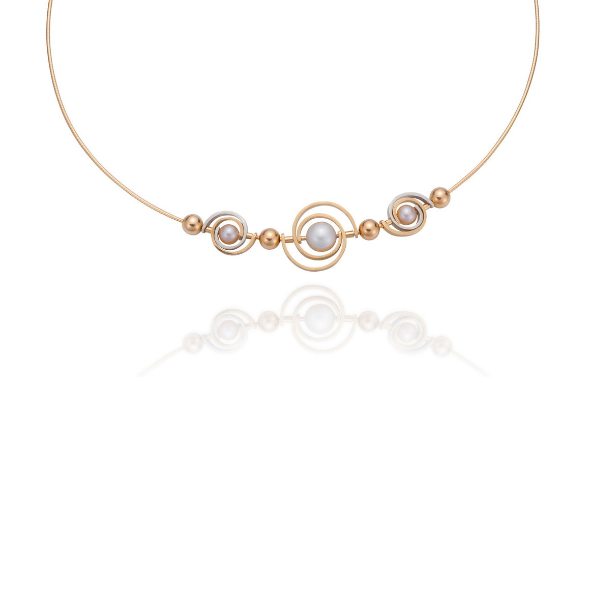 triple spiral orbit akoya pearl 14k yellow gold argentium sterling silver necklace