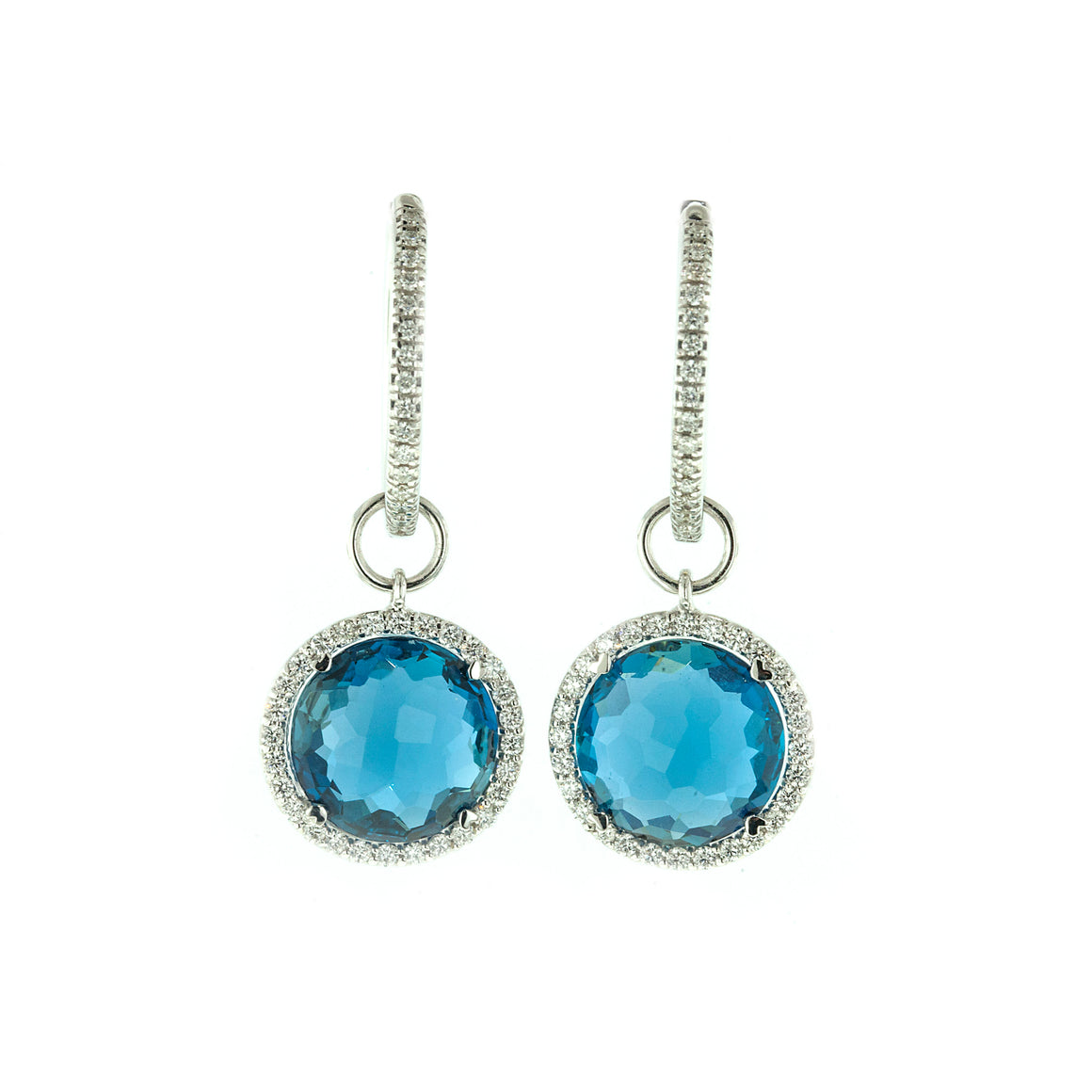 London Blue Topaz and Diamond Drop Earrings by Lisa Nik - Talisman Collection Fine Jewelers