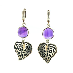 "Margisa Amethyst Heart ""Wildness"" Earrings"