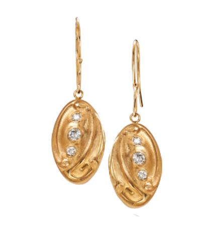 Art Nouveau Inspired 14k Yellow Gold Diamond Drop Earrings