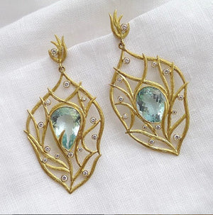 Aquamarine Lemongrass Breeze Earrings by Laurie Kaiser