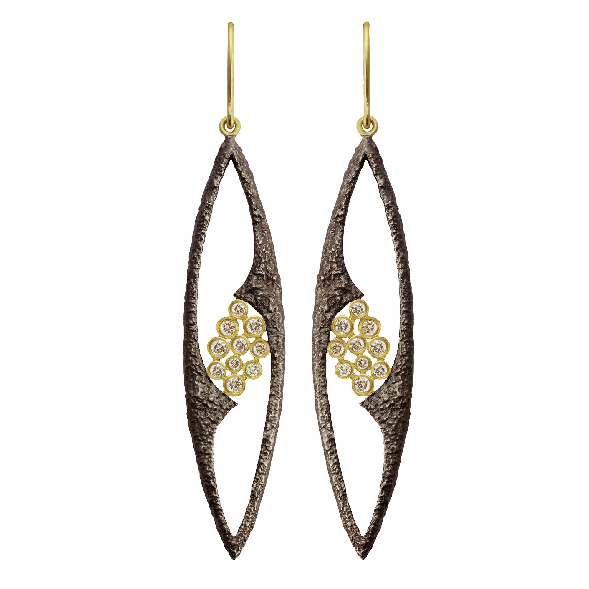 White Sapphire Fresco Marquise Earrings by Laurie Kaiser - Talisman Collection Fine Jewelers