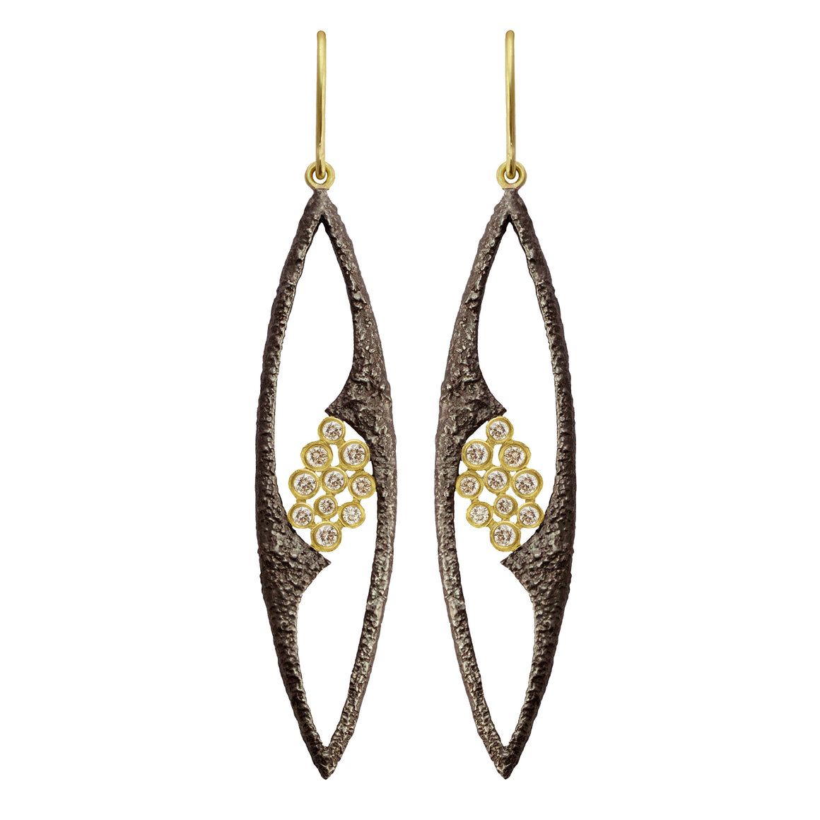 White Sapphire Fresco Marquise Earrings by Laurie Kaiser
