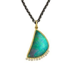 Crescent Boulder Opal Necklace by Laurie Kaiser - Talisman Collection Fine Jewelers