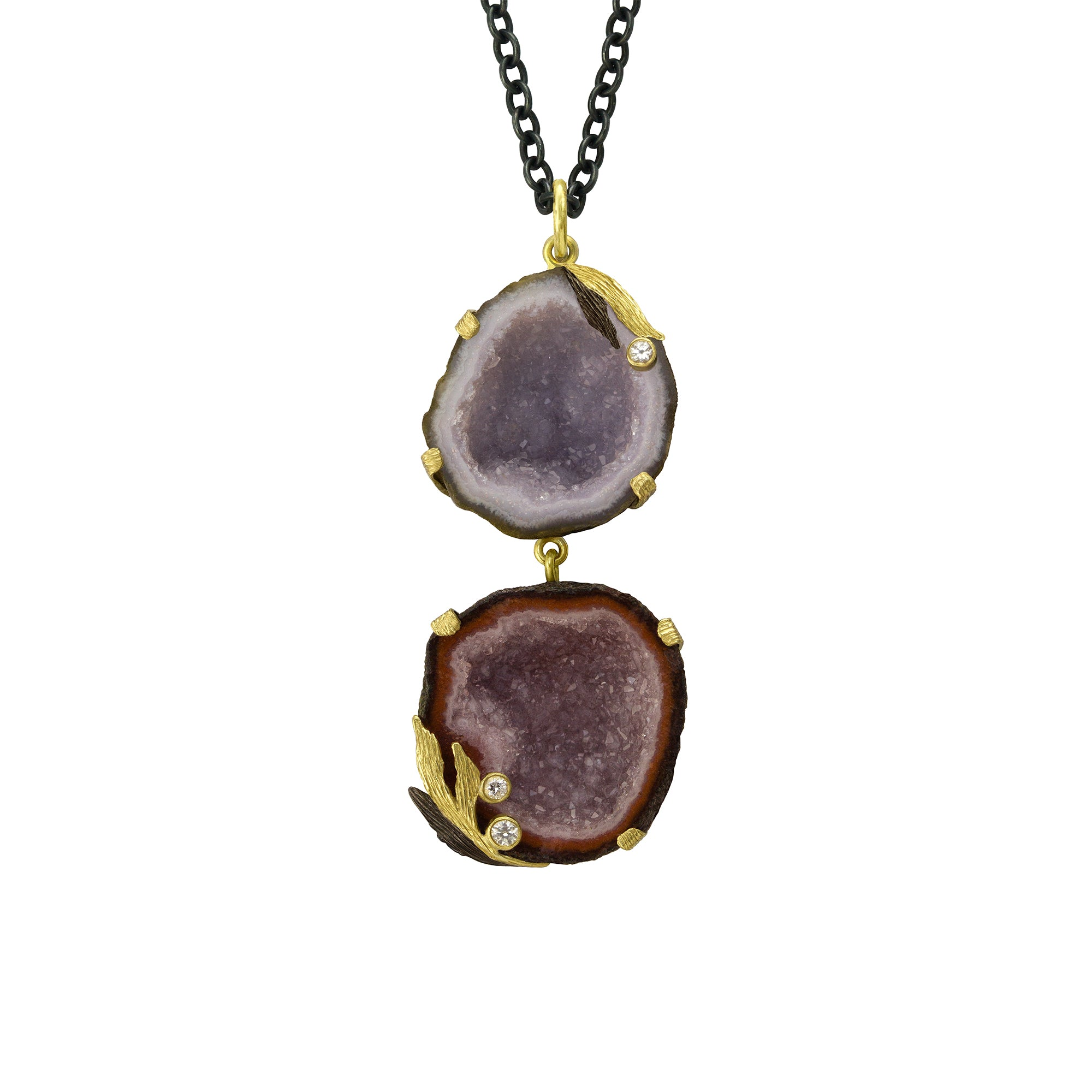 Double Geode Lemongrass Necklace by Laurie Kaiser - Talisman Collection Fine Jewelers