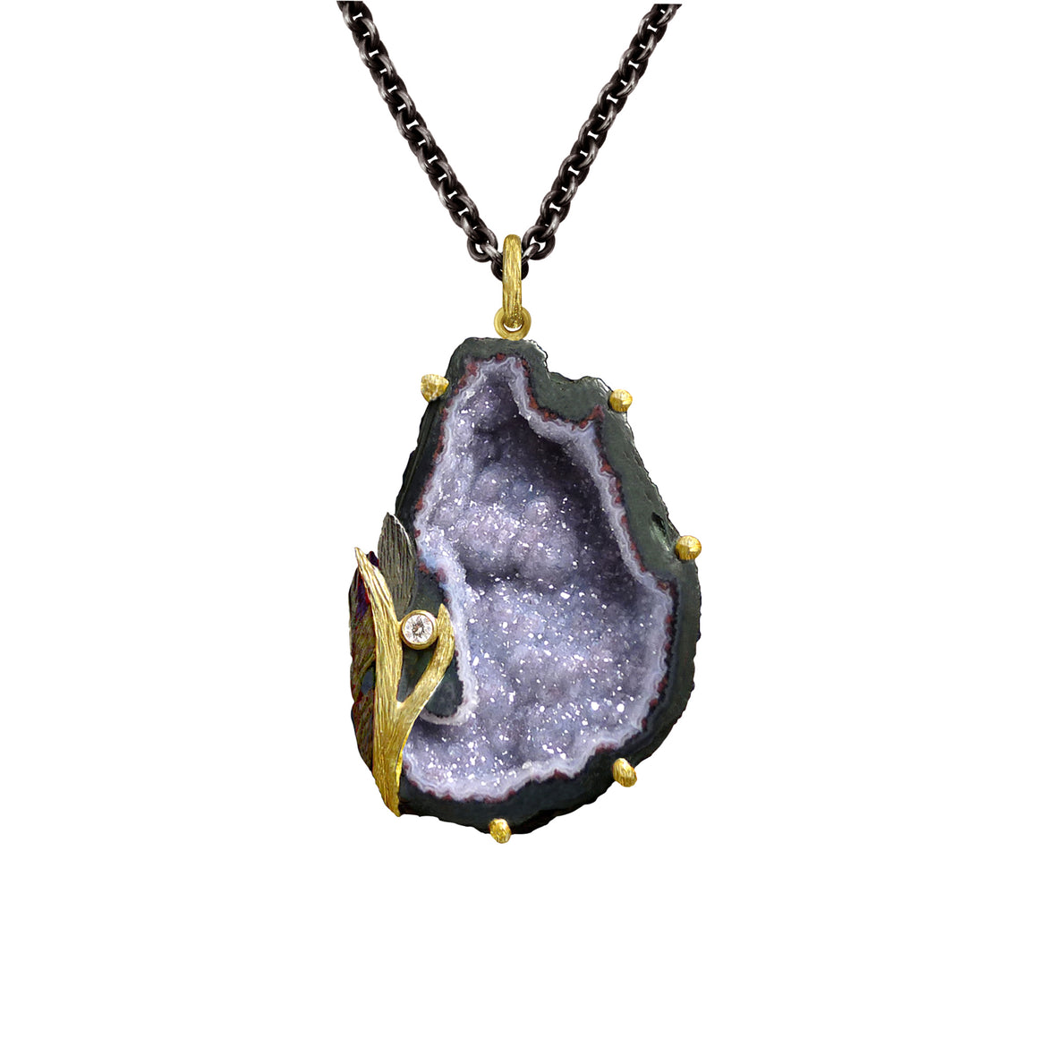 Lavender Geode Lemongrass Necklace by Laurie Kaiser