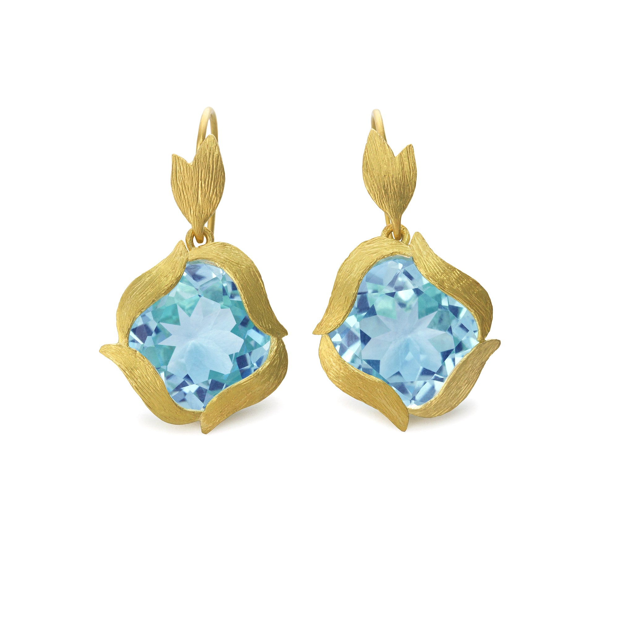 Sky Blue Topaz Lemongrass Orb Earrings by Laurie Kaiser - Talisman Collection Fine Jewelers