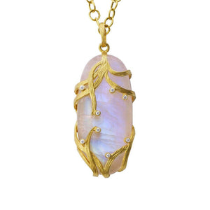 Rainbow Moonstone Lemongrass Necklace by Laurie Kaiser