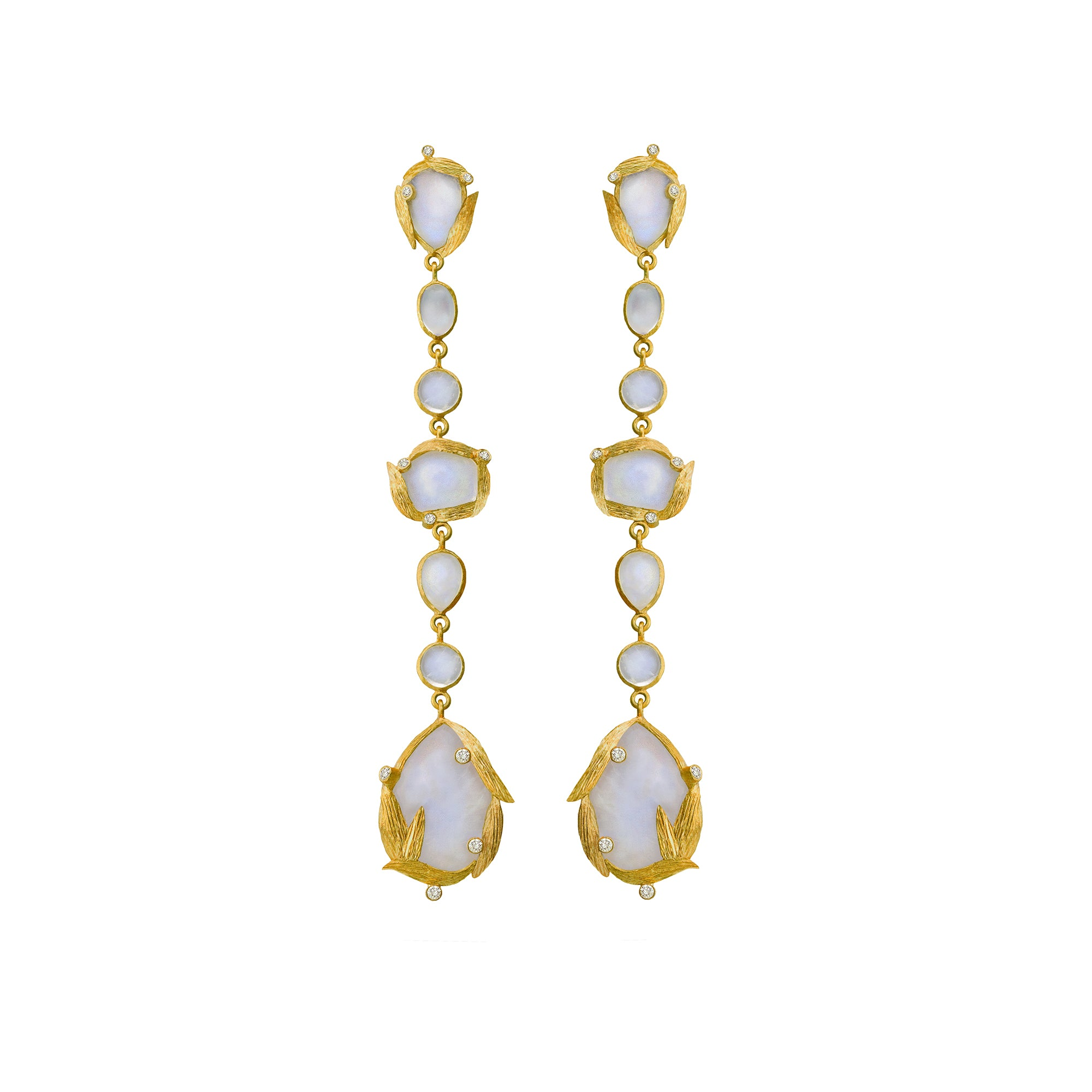 Rainbow Moonstone Lemongrass Earrings by Laurie Kaiser - Talisman Collection Fine Jewelers