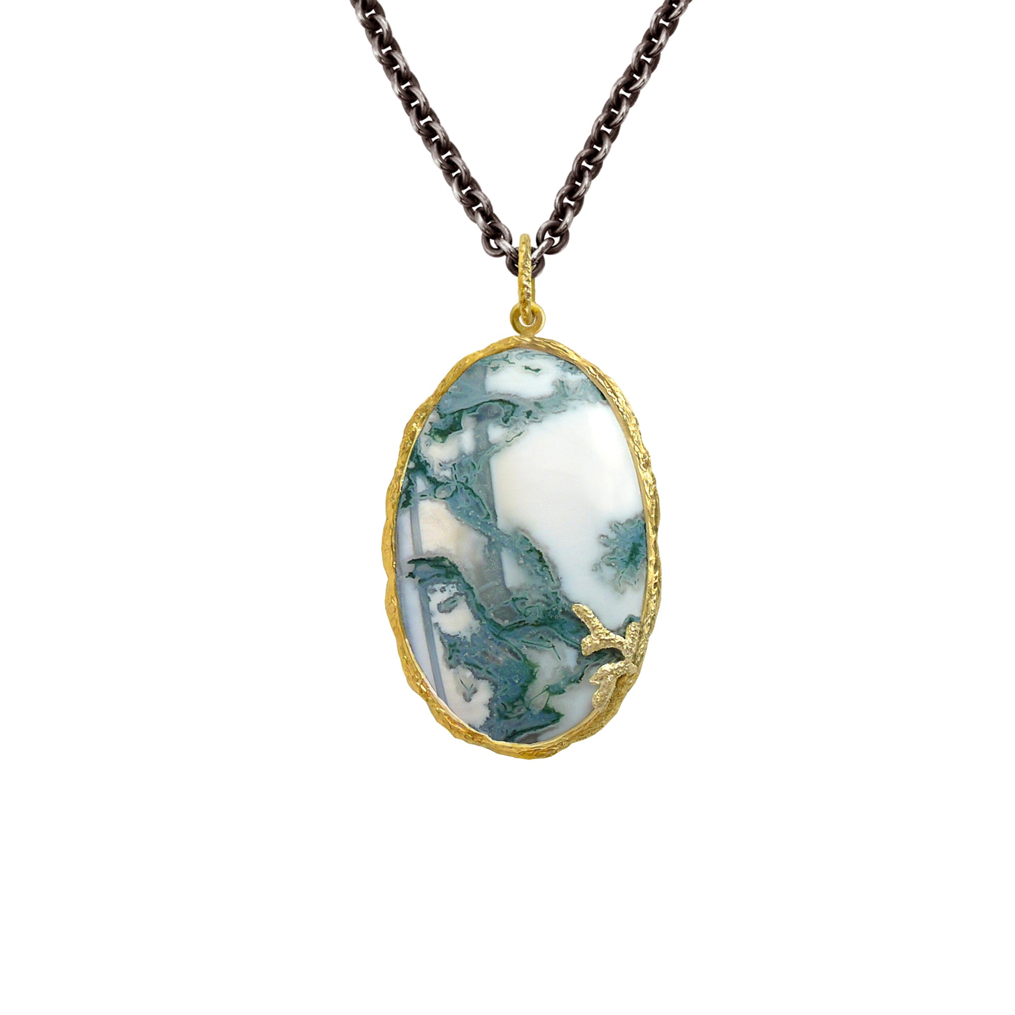 Moss Agate Necklace by Laurie Kaiser - Talisman Collection Fine Jewelers