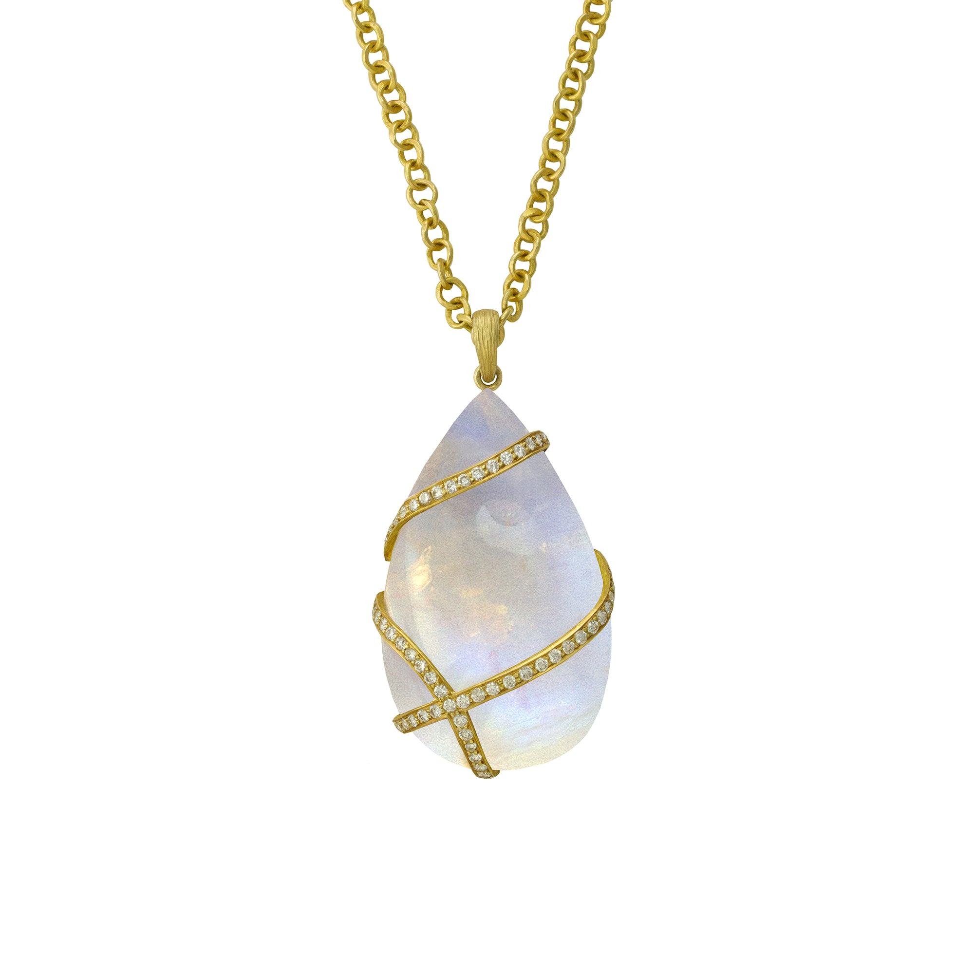 Ribbon Wrapped Moonstone Necklace by Laurie Kaiser - Talisman Collection Fine Jewelers