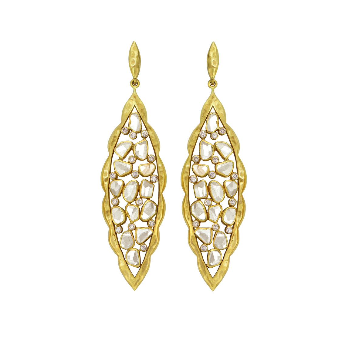 Diamond Scalloped Marquise Earrings by Laurie Kaiser