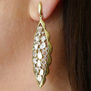 Diamond Scalloped Marquise Earrings by Laurie Kaiser - Talisman Collection Fine Jewelers