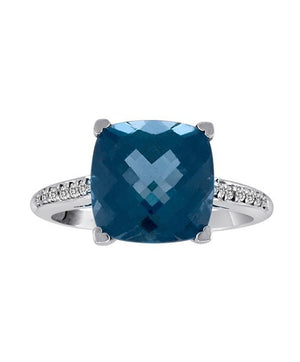 Lisa Nik 18k White Gold Cushion-cut London Blue Topaz and Diamond Ring