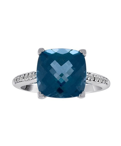 Cushion-Cut London Blue Topaz and Diamond Ring by Lisa Nik - Talisman Collection Fine Jewelers