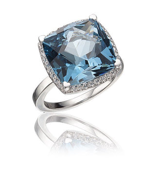 Lisa Nik 18k White Gold 17mm Square-cut London Blue Topaz and Diamond Ring