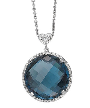 Lisa Nik 18k White Gold London Blue Topaz and Diamond Necklace