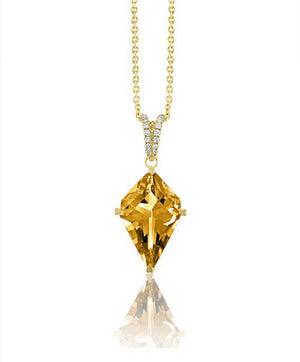 Lisa Nik 18k Yellow Gold Citrine and Diamond Necklace