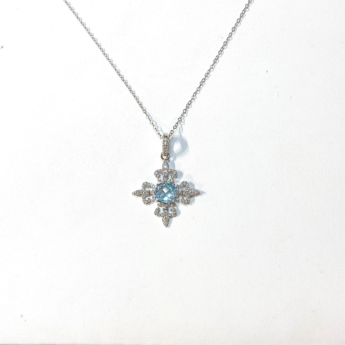 Swiss Blue Topaz and Diamond 4-Way Fleur de Lis Necklace by Lisa Nik - Talisman Collection Fine Jewelers