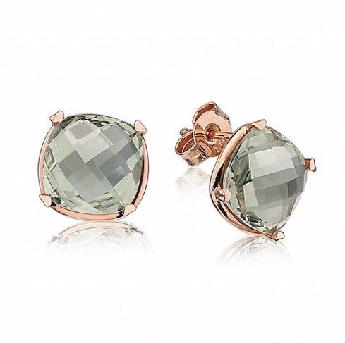 Prasiolite Cushion Studs by Lisa Nik - Talisman Collection Fine Jewelers