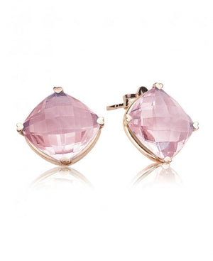 Rose Quartz Cushion Studs by Lisa Nik - Talisman Collection Fine Jewelers