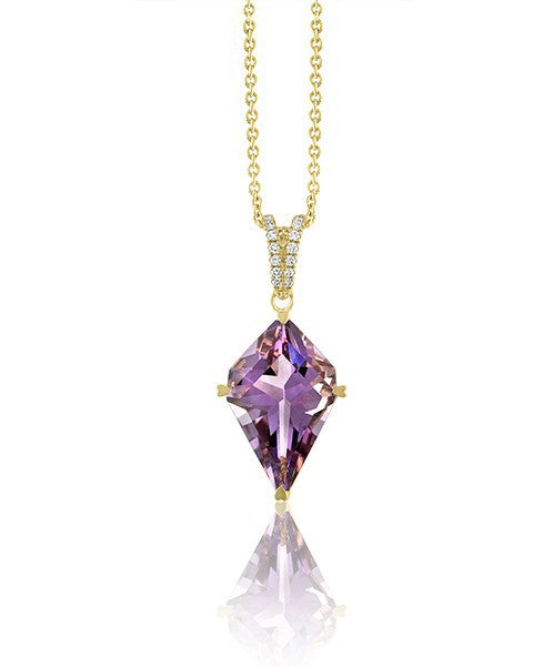 Lisa Nik 18k Yellow Gold Amethyst and Diamond Necklace