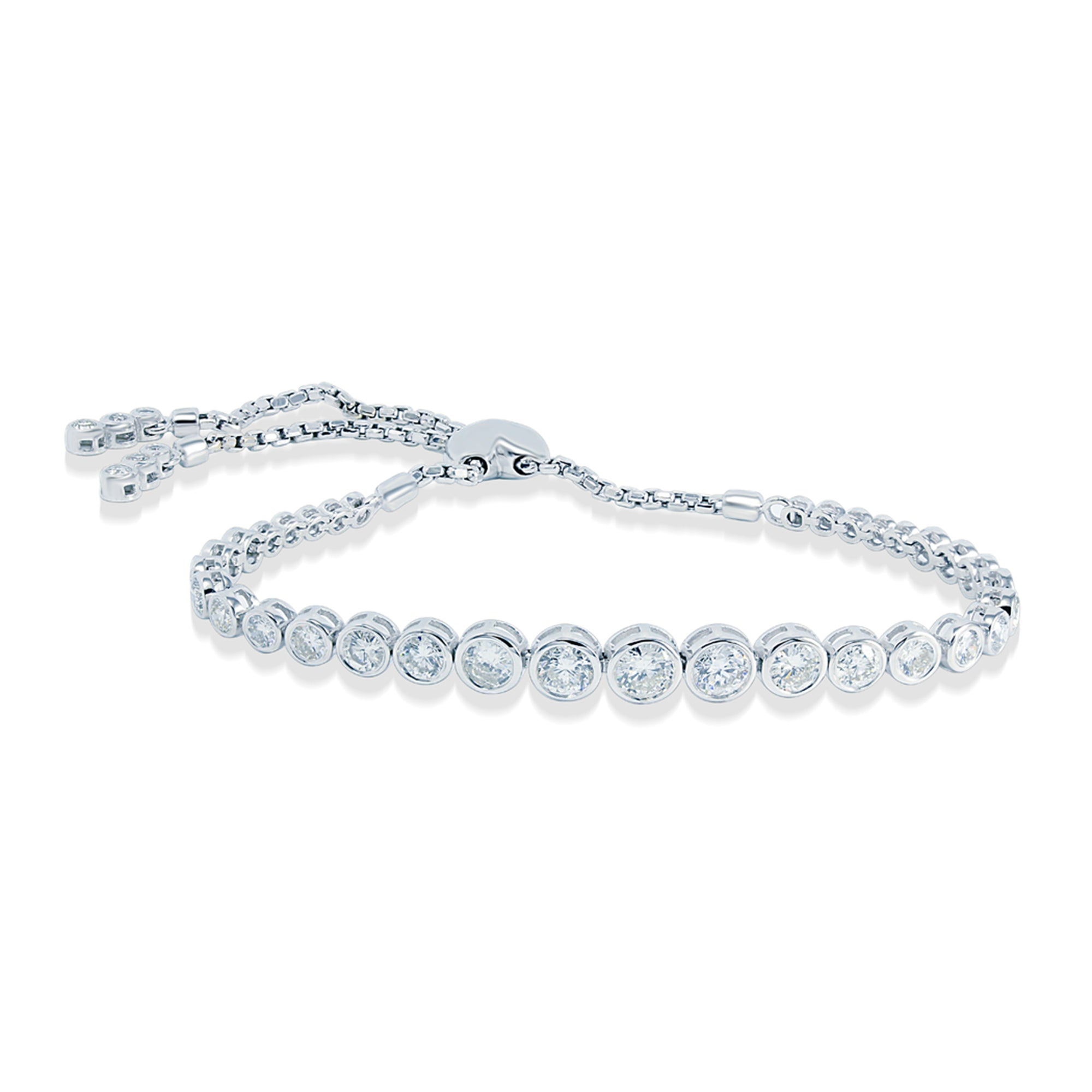 Diamond Bolo Bracelet in 14k White Gold, 3.13 Total Carat Weight - Talisman Collection Fine Jewelers