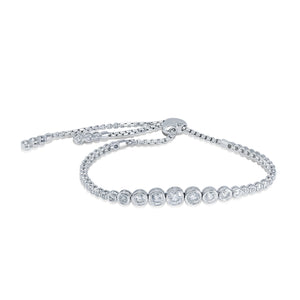 Diamond Bolo Bracelet in 14k White Gold, 1.92 Total Carat Weight - Talisman Collection Fine Jewelers