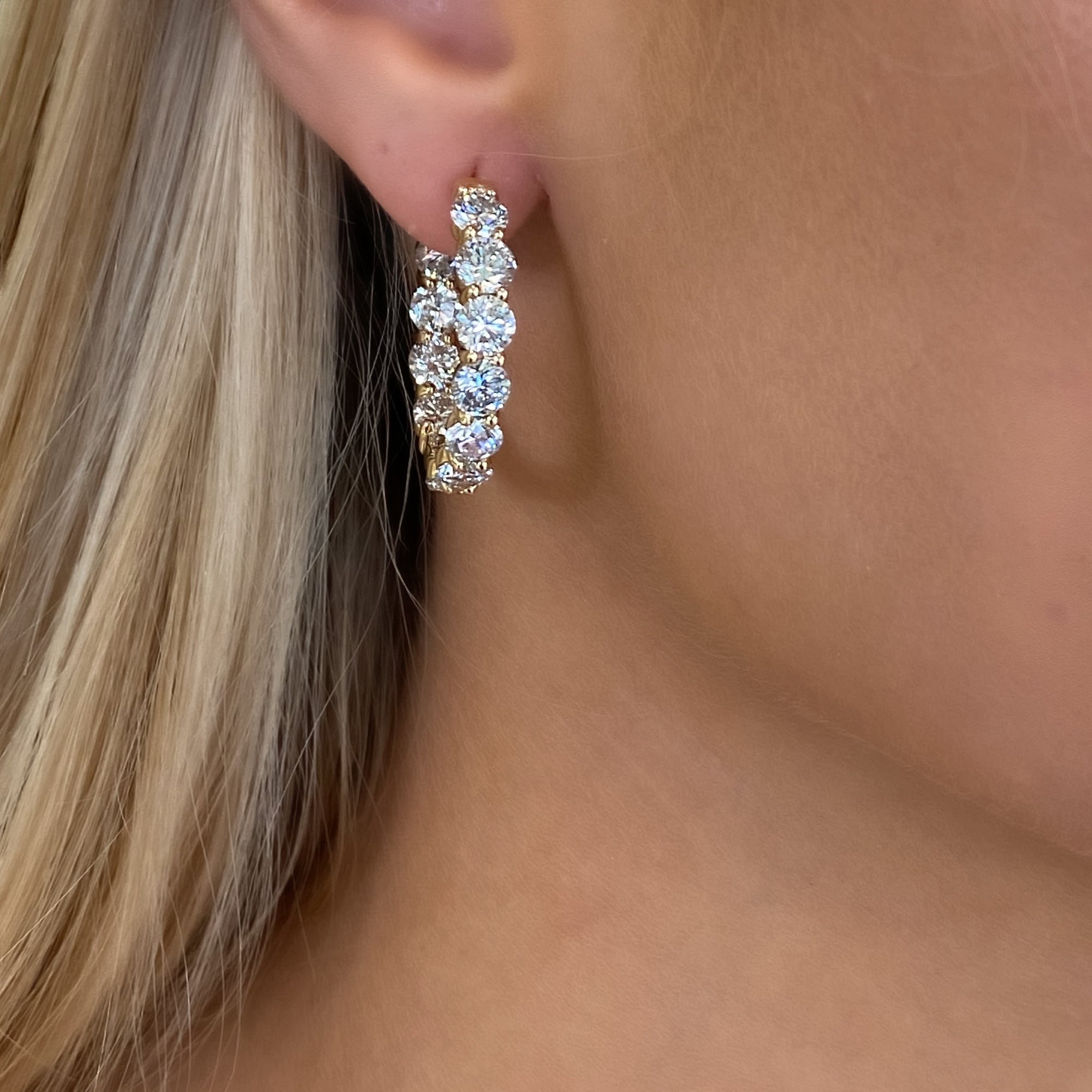 Inside-Out Large Diamond Hoop Earrings in Yellow Gold