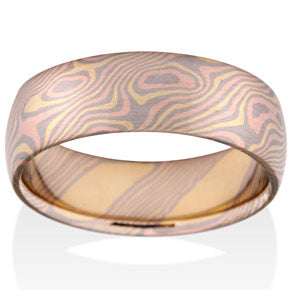 Birch Mokume Tri-Color Gold Ring by Chris Ploof