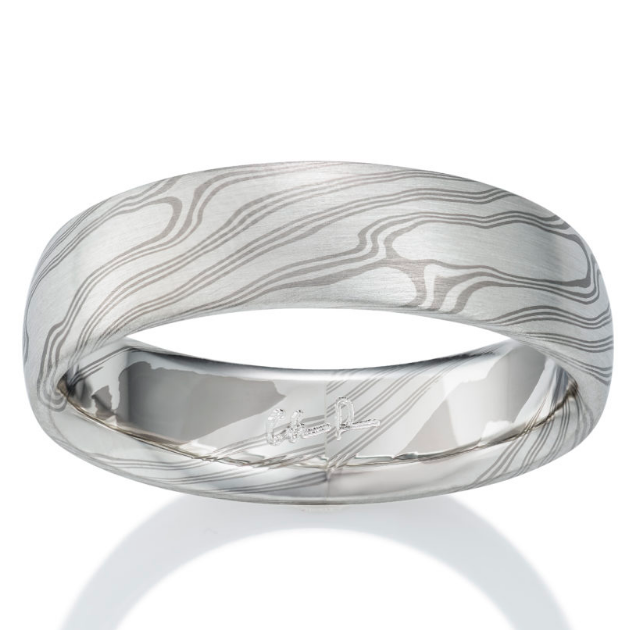 Chris Ploof Chestnut Pd500 and Silver Mokume Ring