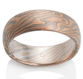 Oak Mokume Ring by Chris Ploof - 14k Red Gold