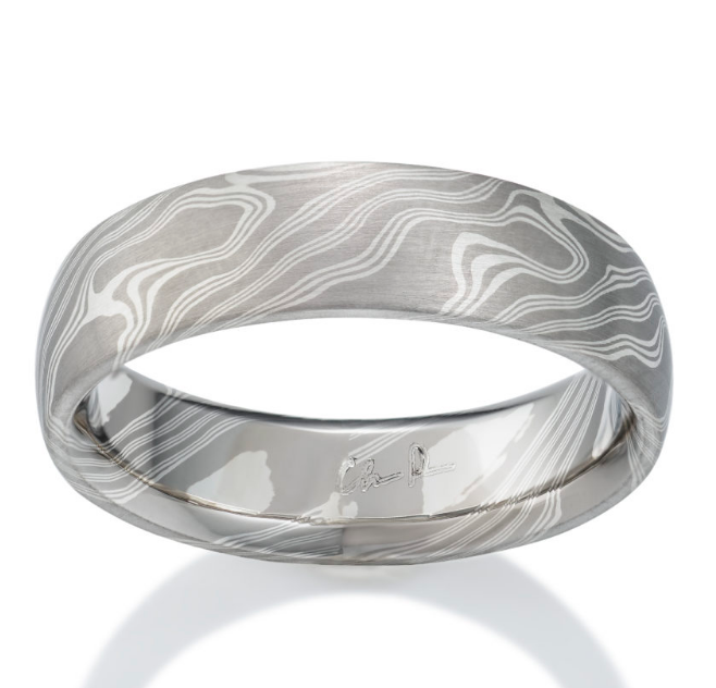Chris Ploof Teak Pd500 and Silver Mokume Ring