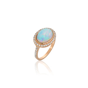 Yael 18k Rose Gold, Opal and Diamond Ring
