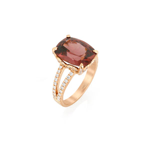 Cinnamon Zircon and Diamond Ring by Yael in 18k Rose Gold - Talisman Collection Fine Jewelers