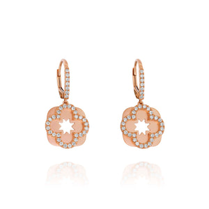 Yael 14k Rose Gold Diamond Flower Drop Earrings
