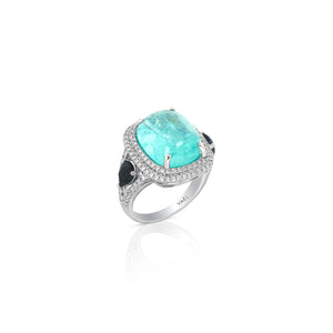Paraiba Tourmaline, Color Change Garnet and Diamond Ring by Yael