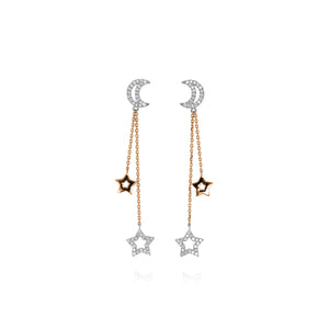 Yael 14k White and Rose Gold Diamond Moon and Stars Earrings