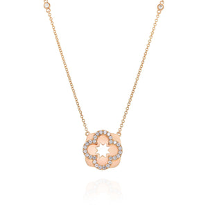 Yael 14k Rose Gold Diamond Flower Necklace
